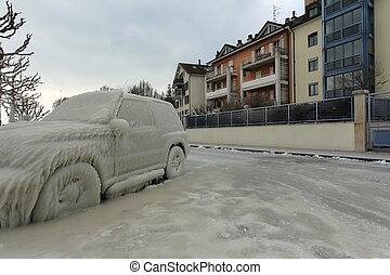 autó, jég, elkapott, svájc, versoix