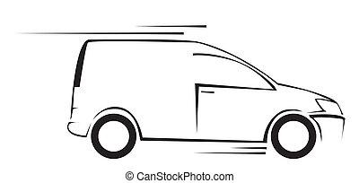 autó, jelkép, ábra, vektor, furgon