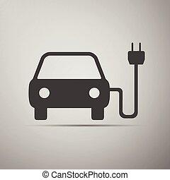 autó, jelkép, elektromos, icon., gépi erejű