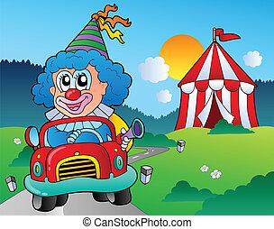 autó, karikatúra, bohóckodik, sátor