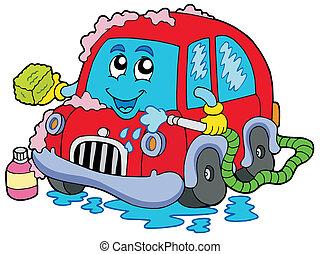 autó, karikatúra, lemos