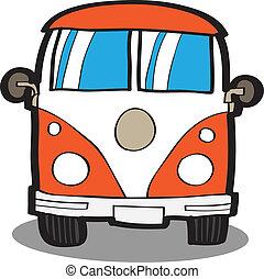 autó, karikatúra, minivan