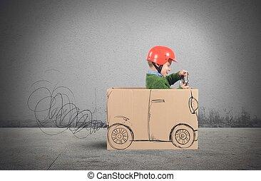 autó, kartonpapír