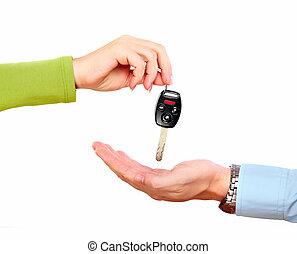 autó, key., kéz