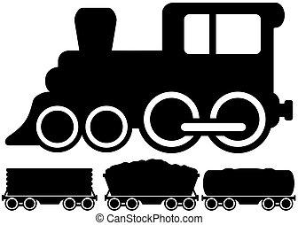 autó, kiképez, elszigetelt, lokomotív