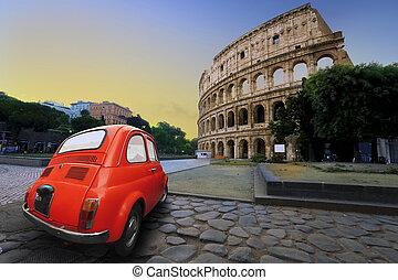autó, kolosszeum, öreg, háttér