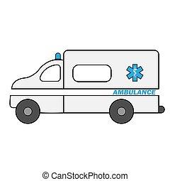 autó, lakás, autó, karikatúra, szükséghelyzet, orvosi, automobile., vagy, mentőautó, jármű