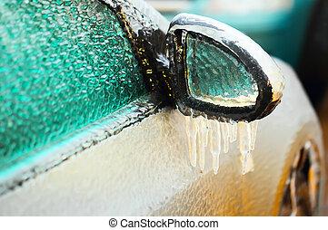 autó, lejtő, befedett, jég, tükör