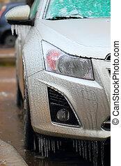 autó, lejtő, jég, befedett