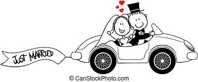 autó, lovász, elszigetelt, menyasszony