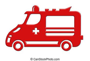 autó, mentőautó, ikon