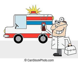 autó, mentőautó, orvos