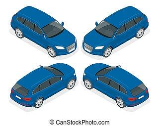 autó., minőség, szállít, icon., magas, város, háromajtós kiskocsi