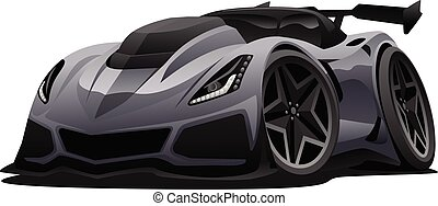 autó, modern, ábra, sport, amerikai, vektor