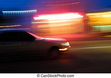 autó, motion., gyorsan, életlen, mozgató, éjszaka
