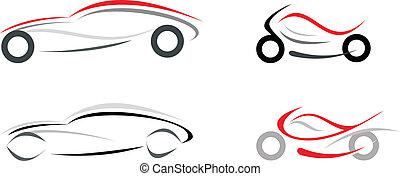 autó, motorkerékpár