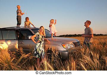 autó, offroad, család, gyerekek
