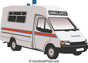 autó, orvosi, jármű, ábra, evacuation., vektor, mentőautó