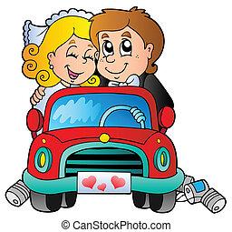 autó, párosít, esküvő