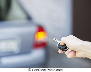 autó, rögzítés, kulcs, kéz