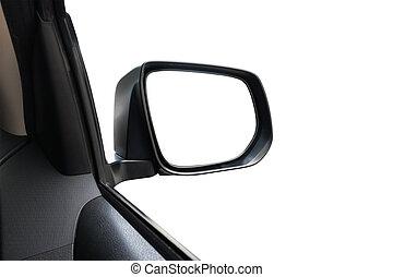 autó, rear-view, háttér, tükör, fehér, lejtő