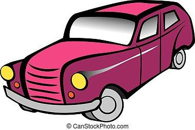 autó, retro, piros