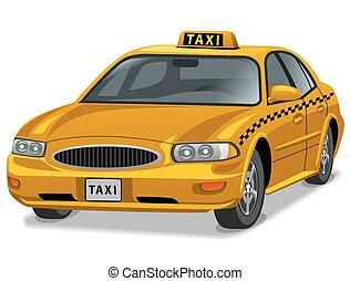 autó, sárga taxi