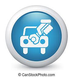 autó, segítség, fogalom, ikon