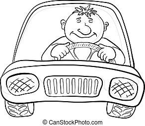 autó, sofőr, körvonal