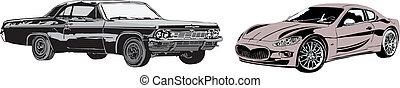 autó, sport, retro