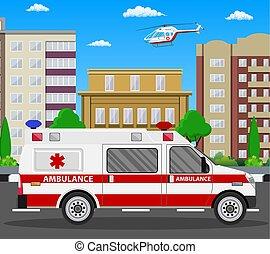 autó., szükséghelyzet, vehicle., mentőautó