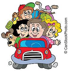 autó, szünidő, család, boldog