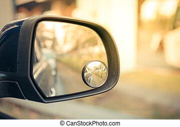 autó, szegély tükör