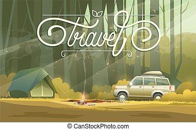 autó, tábor, sátor