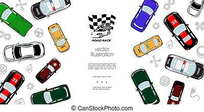 autó, tető, színes, sablon, kilátás