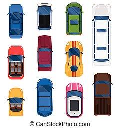 autó, tető, vektor, set., kilátás