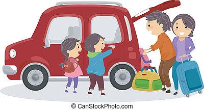 autó, utazó, stickman, család