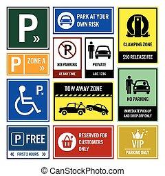 autó, várakozás, liget, signboards, cégtábla