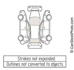 autó, vázlat, kifogásol, nem, megtérít, rajz, háromajtós kiskocsi
