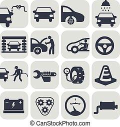autó, vektor, állhatatos, autó, ikonok