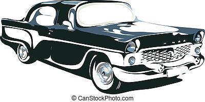autó, vektor, értelmezés, retro