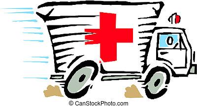 autó, vektor, furgon, mentőautó