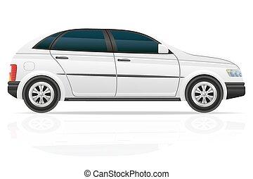 autó, vektor, háromajtós kiskocsi, ábra