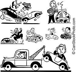 autó, vektor, retro, baleset, grafika