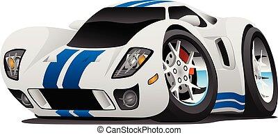 autó, vektor, szuper, karikatúra, ábra
