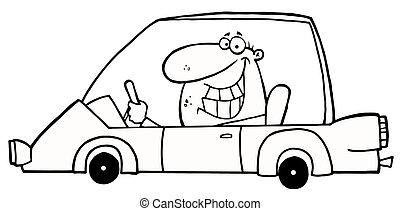 autó, vigyorgó, körvonalazott, bábu kocsikázás