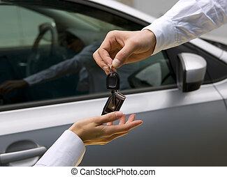 autó woman, felfogó, kulcs, ember