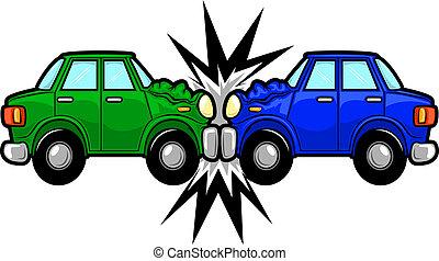 autóbaleset, karikatúra