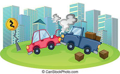 autóbaleset, magas, épületek, elülső