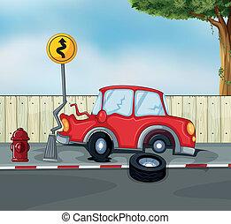 autóbaleset, tűzcsap, országúti